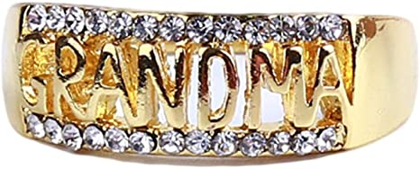 YouCY Grandma Hollow Ring Letter Diamond Ring Vintage Openwork Ring Jewelry Family Birthday Gift for Women Ring Size 5-11,Gold,Size 8