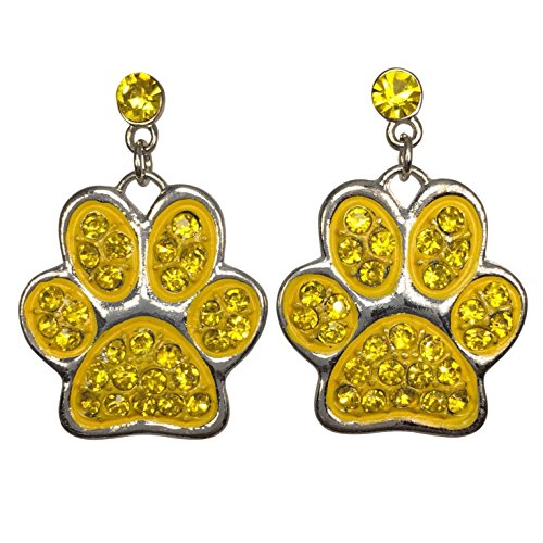 Yellow Paw Print Rhinestone Dangle Post Bling Silver Tone Earrings (Bulldogs Team Post Earrings)