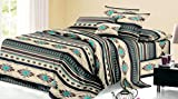 Rustic Western Southwest Native American Design 4 Piece Comforter Set Navajo Print Multicolor Ivory Turquoise Blue black and Grey 17426 King Brown Comforter Set