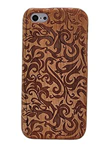 Queens® Unique Real Handmade Natural Wood Wooden Hard Bamboo Shockproof Case For Apple Iphone 5 5G 5S (totem)