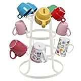 3 Tiers Vintage Style Iron Mug Cup Glass Bottle Organizer Tree Drying Rack Stand Iron 15 Hooks (White)