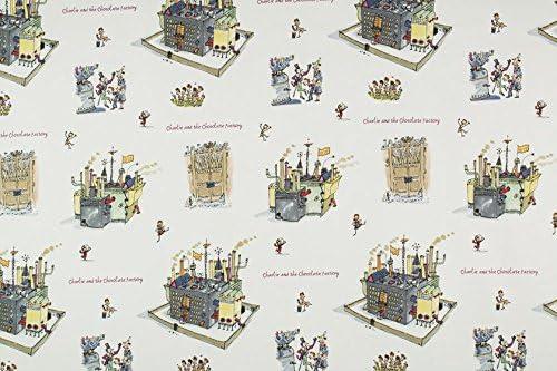 Roald Dahl blanco Charlie y la fábrica de Chocolate 100% algodón tela de alta calidad Material se vende por metro: Amazon.es: Jardín