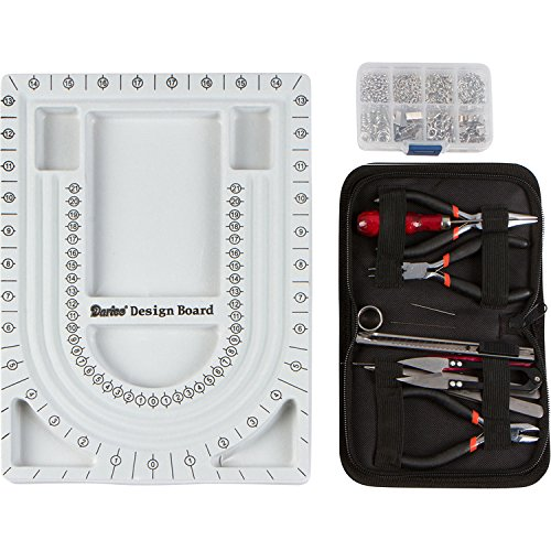 Jewelry Making Starter Kit Includes Jewelry Tool Kit, Complete Bead Board, Case of Silver Jewelry Findings - All You Need To Make Beautiful Jewelry Now! (Jewelry Making Starter Kit)