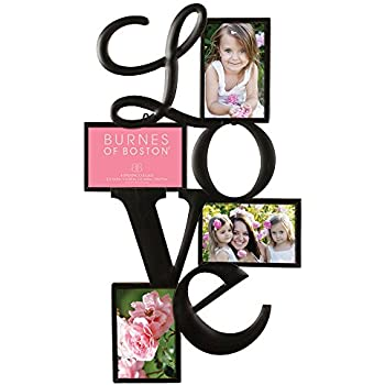 """Burnes of Boston Traditional Oil Rubbed Bronze """"LOVE"""" Collage Wall Frame #542540. Fits Four 4x6 Images Or Photos"""