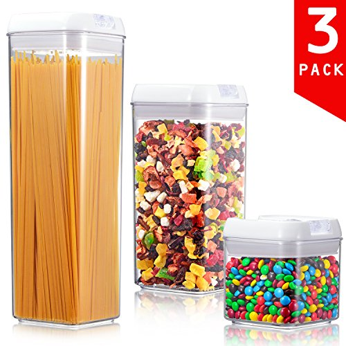 ME.FAN Air-Tight Food Storage Container Set - 3-Piece Set - Durable Seal Pot- For Dry Foods & Liquids - BPA Free - Clear Containers with White Lids (Us Canisters Set Tell)
