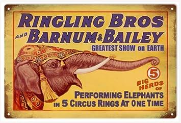 Ringling Bros elefante Animal Circo cartel de la ...
