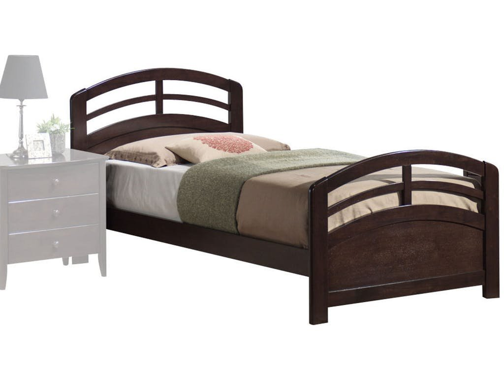 Major-Q Traditional Dark Walnut Finish Mission Style Solid Wood Frame Twin Bed (7014980T)
