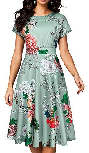 HOMEYEE Women's Short Sleeve Floral Casual Aline Midi Dress A102 (12, Light Green)