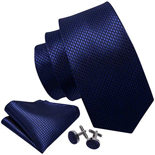 Designer Cufflinks - Barry.Wang Mens Ties Novelty Silk Tie Hanky Cufflinks Set Woven Designer Dark Blue