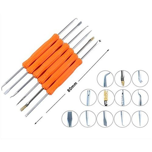 JAKEMY JM-Z01 Soldering Assist Tool 6-Piece Repair Set, Desoldering Tool PCB Soldering Aids Cleaning Kit for surface mount components, removing chips from sockets, repairing electronics