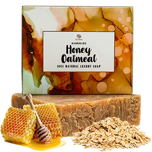 Natural Honey Oatmeal - Natural & Organic Bar Soap - Oatmeal Honey & Goat Milk - 100% Natural Exfoliating Face & Body Wash for Woman, Men, Teens. Chemical Free Soaps with Shea Butter and Coconut Oil - for all Skin Types. 4oz