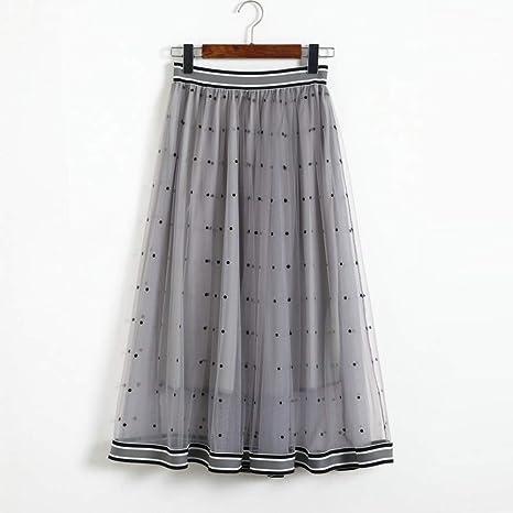 HEHEAB Falda,Moda Gris Splicing Onda Faldas Faldas De Verano ...