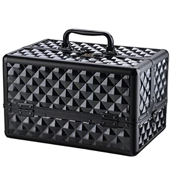 Amazon.com: Negro impresión de diamante cosméticos estuche ...