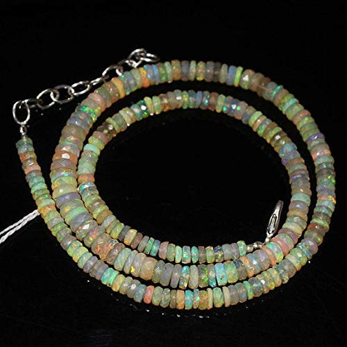 Bead Of Mother Pearl Briolette (Fire Ethiopian Welo Opal Smooth Loose Wheel Tyre Rondelle Gemstone Craft Beads Strand Necklace 17