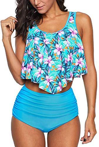Aixy Swimsuits for Women Two Piece Bathing Suits Ruffled Top High Waisted Bikini Bottom Tankini