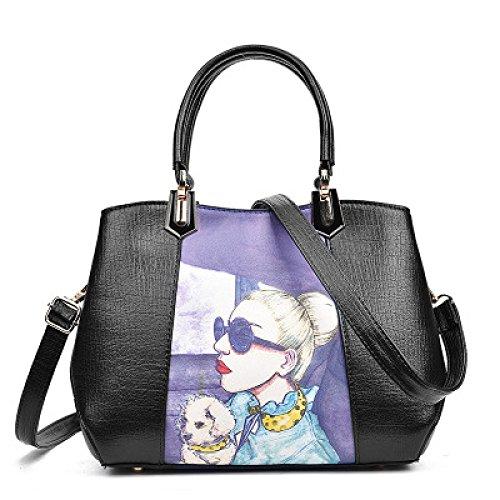 Imprimé sacs à main de modèle de beauté pour les femmes Designer sac de médecin de grande capacité Tote Satchel Crossbody Shoulder Messenger paquet Black