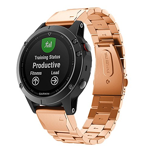 Aresh Compatible with Garmin Forerunner 945 Bands, Stainless Steel Forerunner 945 Metal Band 22mm Width Replacement Wristband for Garmin Forerunner 945/Garmin Fenix 5 Smartwatch (Rosegold)