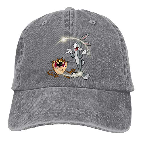 Gr84frhg Unisex Bugs Bunny & Taz Looney Personality Hat Adjustable Baseball Hat Gray