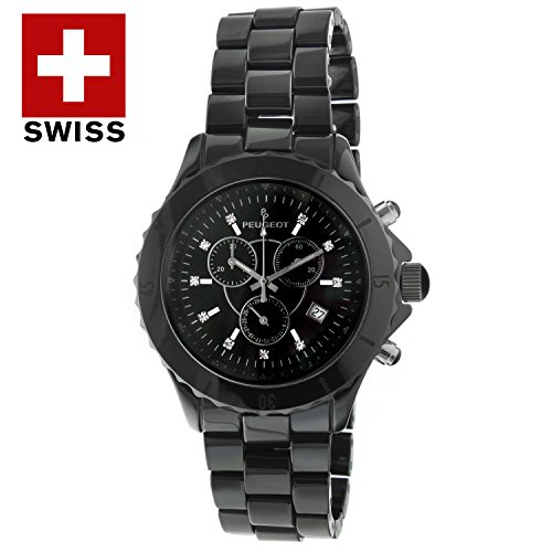 Peugeot Men's Swiss Chronograph Black Genuine Ceramic Crystal Marker Dress Watch PS968