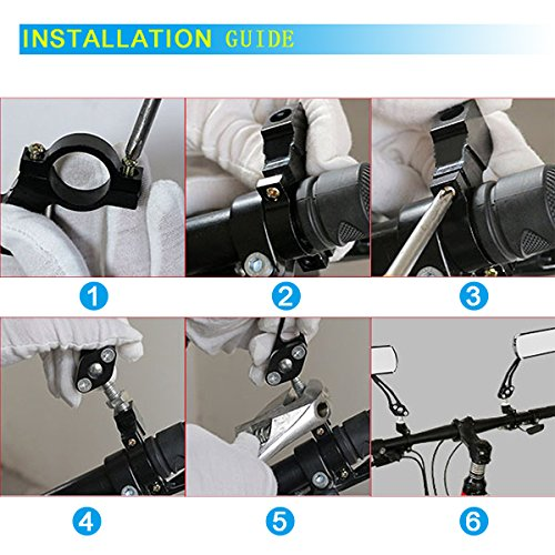 Bike Mirror, Veanic Universal Adjustable Rearview Handlebar Safety Glass Mirrors Lens for Mountain Road Cycling Bicycle Electric Bike - Pair by Veanic (Image #6)