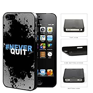 Hashtag Never Quit Black Splatter Paint iPhone 4 4s Hard Snap on Plastic Cell Phone Cover