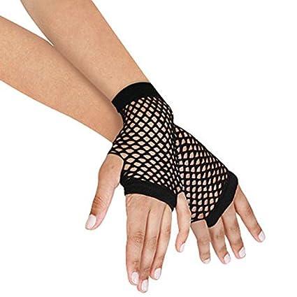 368933fe5bd3 Amazon.com: Lannmart 1 Pair Summer Spring Black Net Mesh Gloves Punk ...