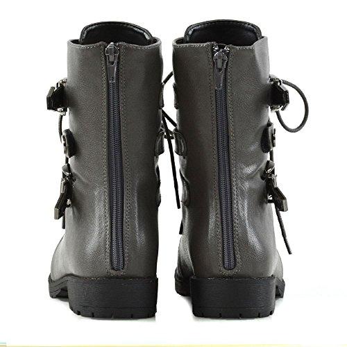 Femmes De Gris mollet Cheville Lacets Glam Fermeture Essex clair Cuir Combat Militaires Pour Nouveaut Boucles Mi Synthtique Biker Chaussures Bottes xn7vxT0Wq