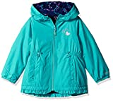 London Fog Baby Toddler Girls' Girly Midweight Reversible Jacket Coat, Turquoise, 3T