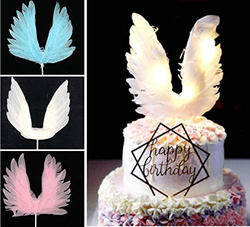 BlueSunshine Angel Wing Cake Topper Decoration With LED Light For Anniversary Birthday Party Wedding Baby Shower Birthday Party Favors (White)]()