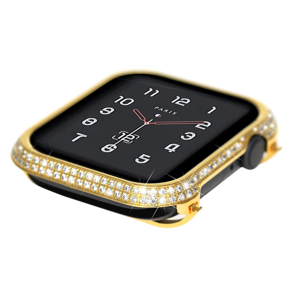 Coobes Compatible with Apple Watch Case 40mm 44mm, Metal Bumper Protective Cover Women Bling Diamond Crystal Rhinestone Shiny Compatible iWatch Series 4 (Diamond-Upgraded Gold S4, 40mm)