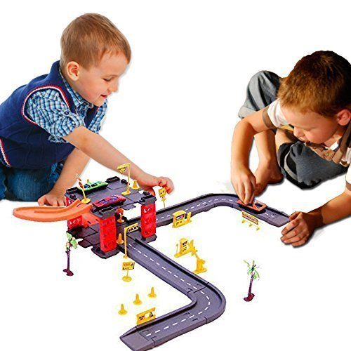 Toy Cubby Parking Tower Complete Track Set with 3 Cars - Complete Cubby