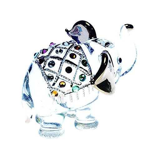 ChangThai Design Elephant Figure Dollhouse Miniatures Animals Swarovski Crystal Collectible Figurine
