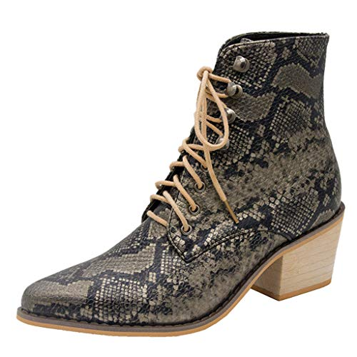 TnaIolral Women Suede Boots Square Heel Embroidery Boots Lace-Up Pointed Toe Shoes (US:5, Black1)