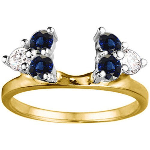 Diamond and Sapphire Ring Enhancer in 14k TwoTone Gold,(G-H,I1)(0.63Ct)Size 3 To 15 in 1/4 Size Interval
