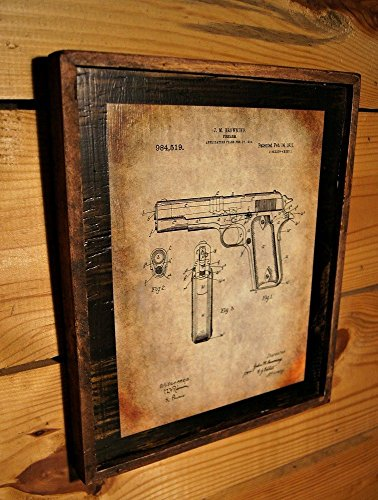 Framed Vintage Browning 1911 Original Patent Drawing Wooden Sign by Wooden Crow Company