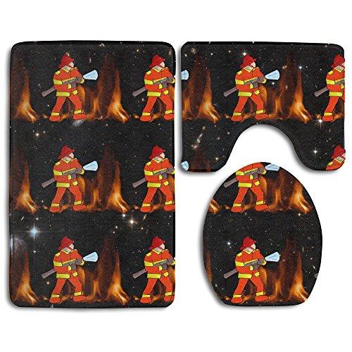 Firefighting Firefighter Fire Soft Non-Slip Rug Mat Large Contour Bathroom Bath Mat Rug Set
