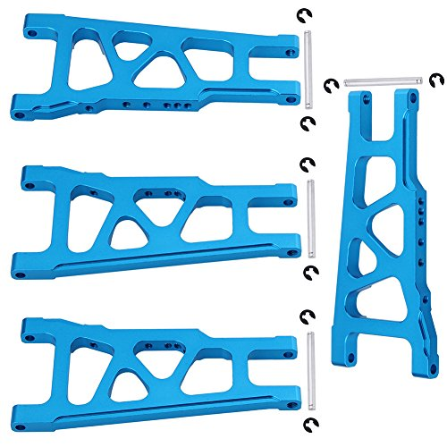 Hobbypark 2 Pairs Aluminum Suspension Arms Left & Right Front / Rear For 1/10 Traxxas Slash 4x4 Replacement of 3655X Option Upgrade Parts Blue Fit HQ727 (4 4 Ultimate X The)
