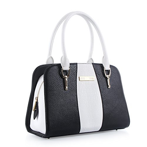 Handbags for women, FYY 100% Handmade Premium PU Leather Cord Tied women satchel handbags Black