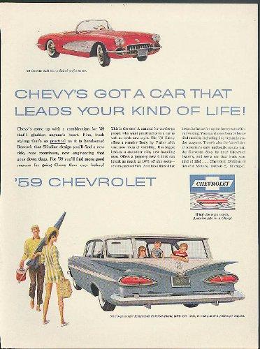 Chevrolet Kingswood Wagon & Corvette / Muguet du Bonheaur Caron Perfume ad 1959