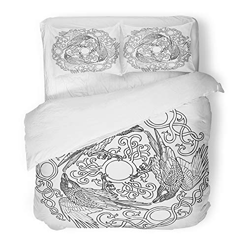 Emvency Bedding Duvet Cover Set Full/Queen Size (1 Duvet Cover + 2 Pillowcase) Symbol of Three Ravens Viking Fantasy Celtic Black and White Abstract Ancient Animal Hotel Quality Wrinkle by Emvency