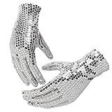 Lanhui Sparkle Sequin Wrist Gloves for Party Dancing Magic Event Unisex Kids (14x17cm, Silver)