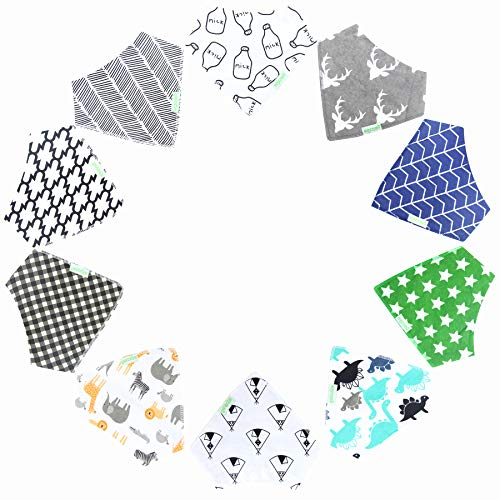 10-Pack Wegreeco Baby Boy Bandana Drool Bibs for Babies,Toddlers - Cotton Absorbent Bib Bandana (Geometry Pattern) (Best Bandana Bib Pattern)