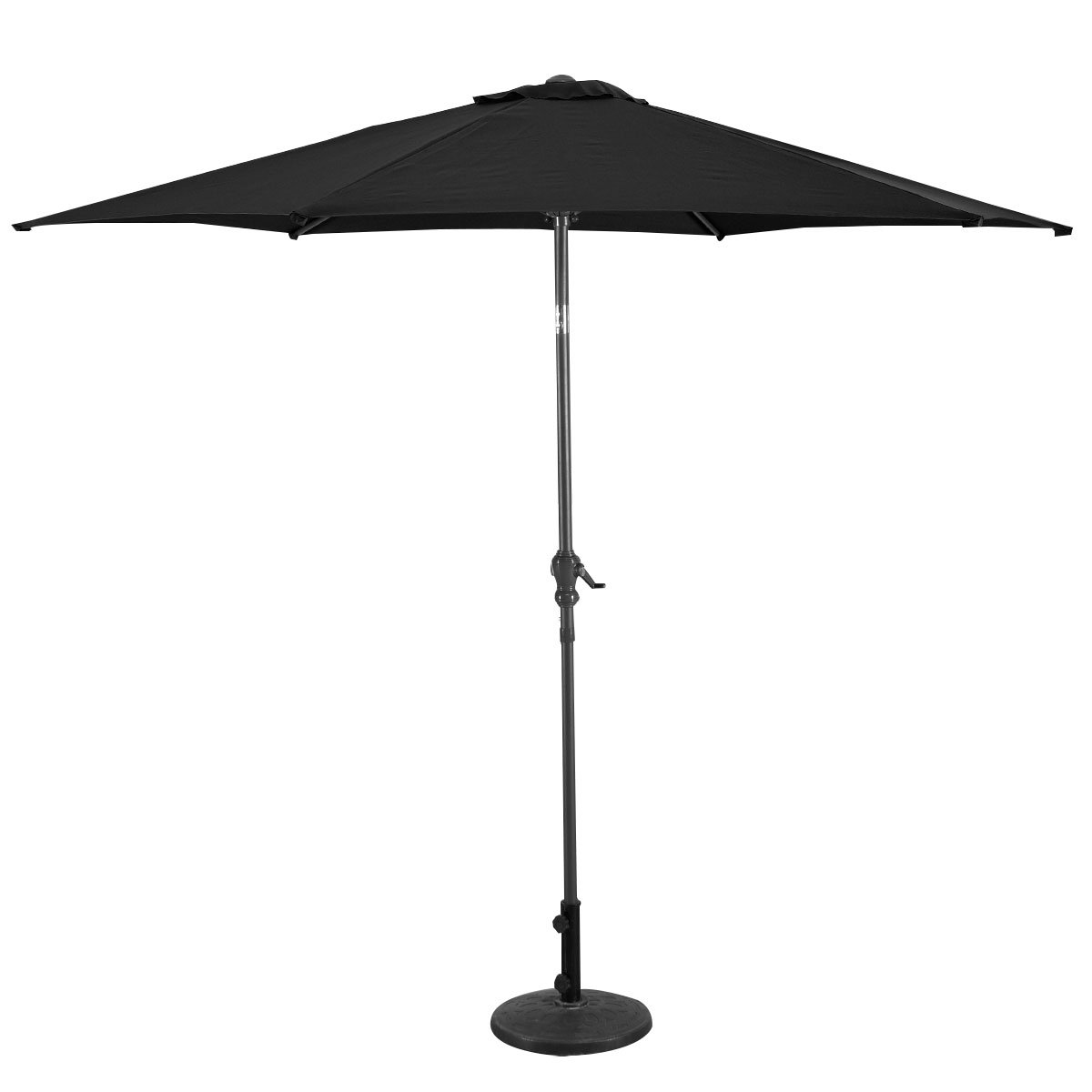 COSTWAY 2.7M Garden Parasol Metal Steel Crank Sunshade Umbrella Patio Outdoor (2.7M, Black)