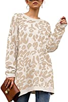 Yidarton Women's Casual Leopard Print Crew Neck Long Sleeve Camouflage Knitted Tops Oversized Pullover Sweaters