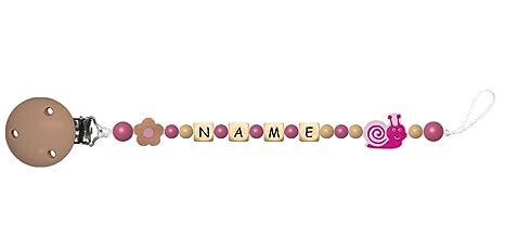 Baby Chupete con cadena de perlas de madera y nombre ...