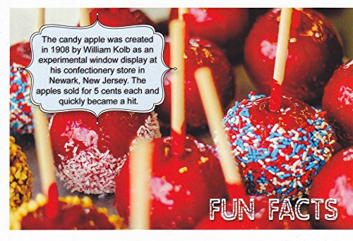 AmeriFacts13 - The candy apple was created in 1908 by William Kolb as an experimemtal window display .. .....- ... An Exciting U S. Historical Fun Fact POSTCARD from HibiscusExpress (Candy Facts Fun Facts)