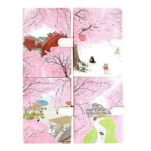 Clara Japanese Style Blossom Sakura Notebook Lined Paper Notepad Diary Book(1pcs, Cover -