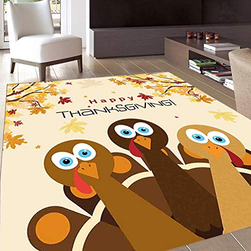 Rug,FloorMatRug,Turkey,AreaRug,Happy Thanksgiving with Falling Leaves and Poultry Birds Harvest Time Celebration,Home mat,3'x5'Multicolor,RubberNonSlip,Indoor/FrontDoor/KitchenandLivingRoom/B
