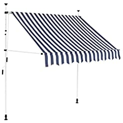 Garden and Outdoor Tidyard Manual Retractable Sun Shade Patio Awning 78.7 Inches for Window Terrace Balcony Garden Blue and White Stripes patio awnings