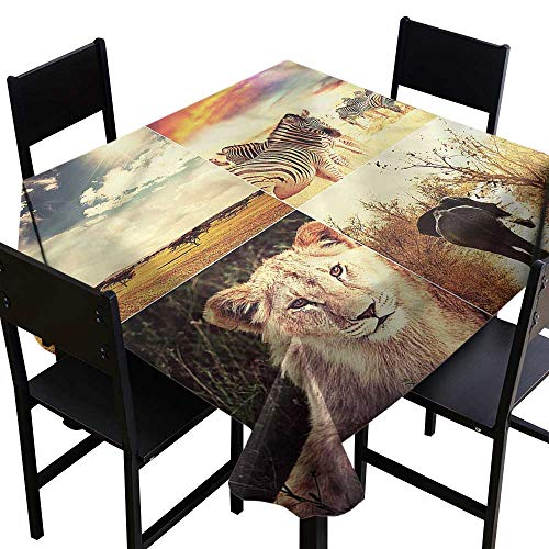 SKDSArts Tablecovers Square Safari,Wild Life African Savannah,W70 x L70 for Bistro Table (Savannah Bistro)
